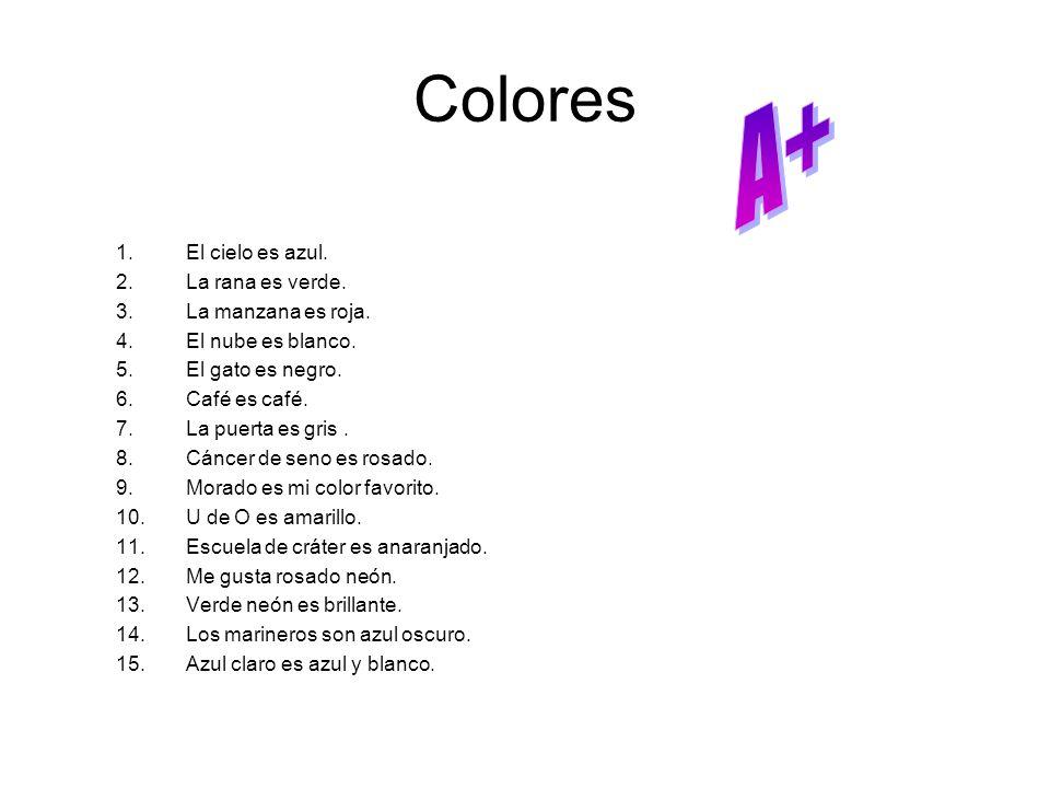 Colores 1.El cielo es azul. 2.La rana es verde. 3.La manzana es roja. 4.El nube es blanco. 5.El gato es negro. 6.Café es café. 7.La puerta es gris. 8.