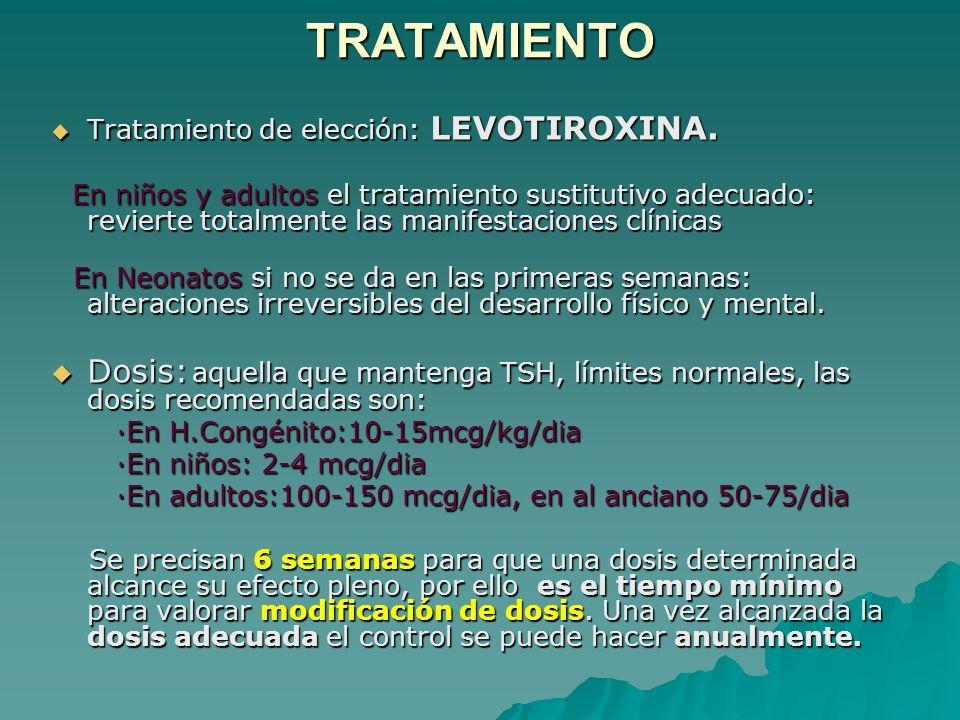 TRATAMIENTO Tratamiento de elección: LEVOTIROXINA.