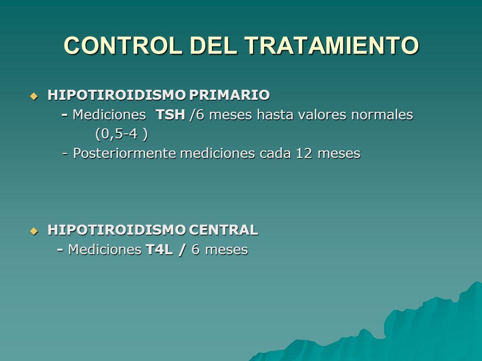 CONTROL DEL TRATAMIENTO HIPOTIROIDISMO PRIMARIO HIPOTIROIDISMO PRIMARIO - Mediciones TSH /6 meses hasta valores normales - Mediciones TSH /6 meses hasta valores normales (0,5-4 ) (0,5-4 ) - Posteriormente mediciones cada 12 meses - Posteriormente mediciones cada 12 meses HIPOTIROIDISMO CENTRAL HIPOTIROIDISMO CENTRAL - Mediciones T4L / 6 meses - Mediciones T4L / 6 meses