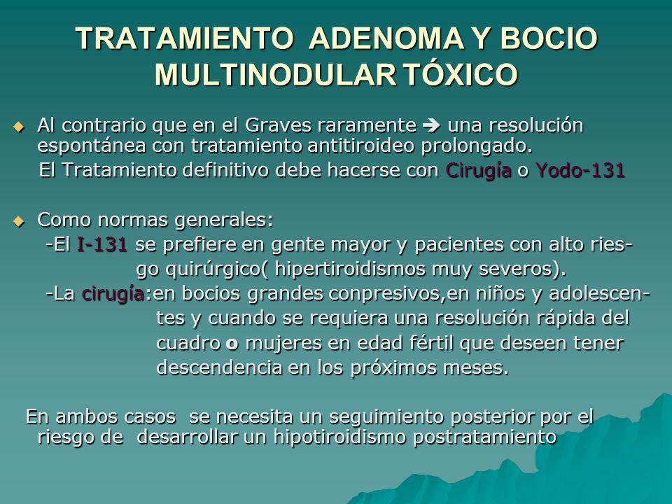 TRATAMIENTO ADENOMA Y BOCIO MULTINODULAR TÓXICO Al contrario que en el Graves raramente una resolución espontánea con tratamiento antitiroideo prolongado.