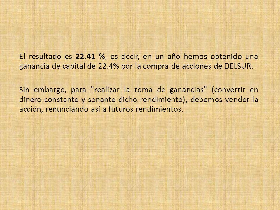 El resultado es 22.41 %, es decir, en un año hemos obtenido una ganancia de capital de 22.4% por la compra de acciones de DELSUR. Sin embargo, para