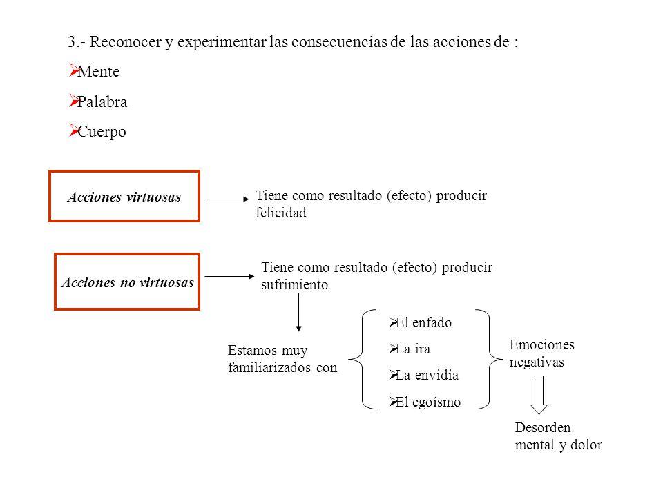 3.- Reconocer y experimentar las consecuencias de las acciones de : Mente Palabra Cuerpo Acciones virtuosas Tiene como resultado (efecto) producir fel
