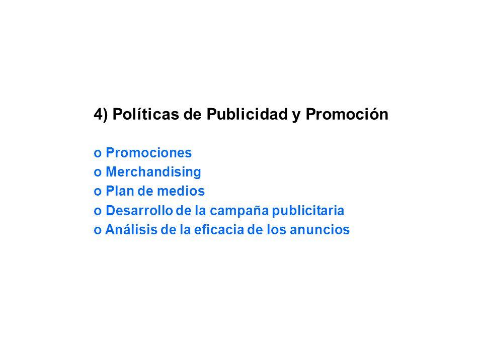4) Políticas de Publicidad y Promoción o Promociones o Merchandising o Plan de medios o Desarrollo de la campaña publicitaria o Análisis de la eficaci