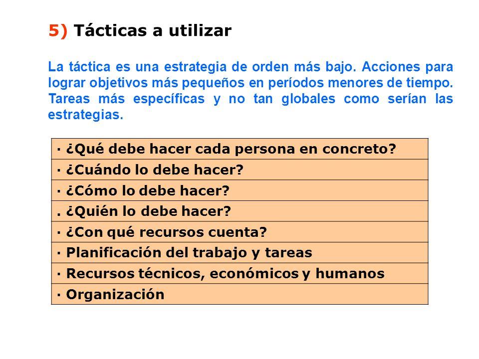 5) Tácticas a utilizar La táctica es una estrategia de orden más bajo. Acciones para lograr objetivos más pequeños en períodos menores de tiempo. Tare