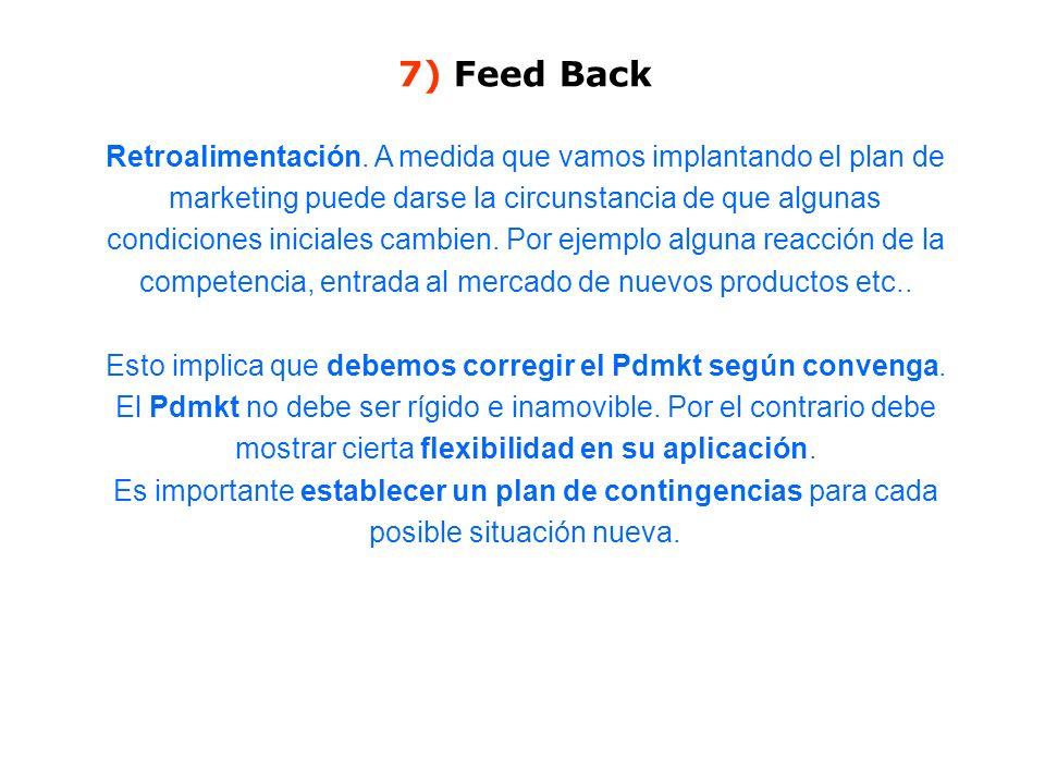7) Feed Back Retroalimentación. A medida que vamos implantando el plan de marketing puede darse la circunstancia de que algunas condiciones iniciales