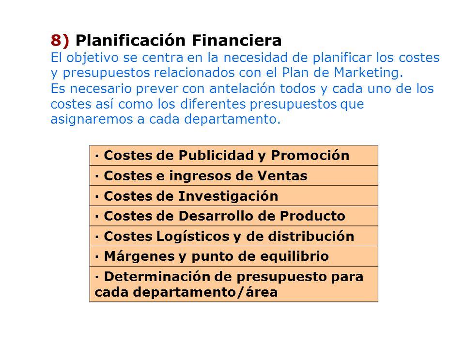 8) Planificación Financiera El objetivo se centra en la necesidad de planificar los costes y presupuestos relacionados con el Plan de Marketing. Es ne