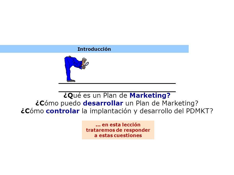 Introducción ¿Qué es un Plan de Marketing? ¿Cómo puedo desarrollar un Plan de Marketing? ¿Cómo controlar la implantación y desarrollo del PDMKT?... en