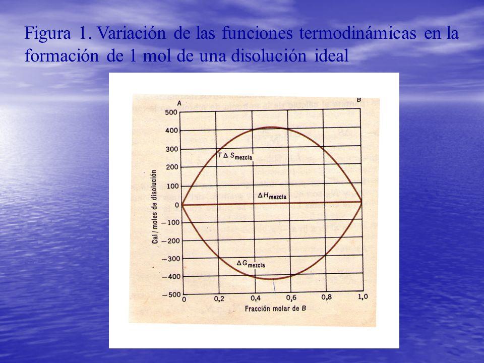 Figura 1. Variación de las funciones termodinámicas en la formación de 1 mol de una disolución ideal