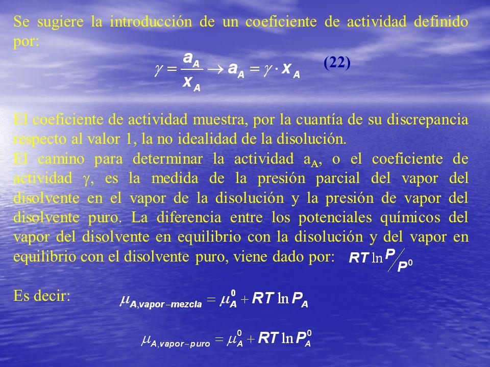 Se sugiere la introducción de un coeficiente de actividad definido por: El coeficiente de actividad muestra, por la cuantía de su discrepancia respect