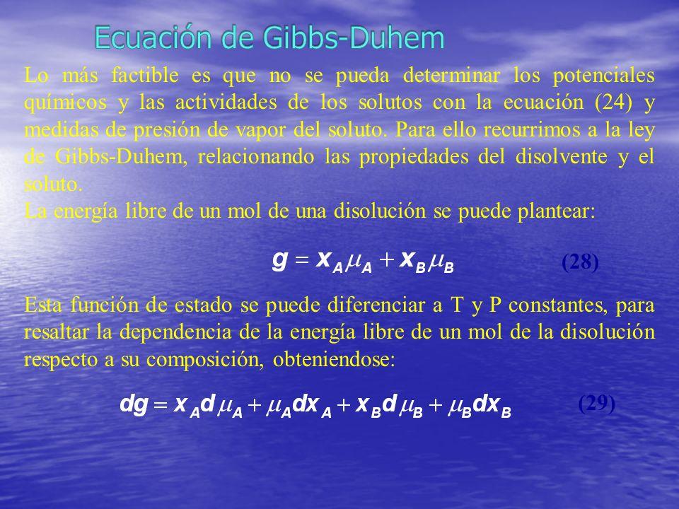 Lo más factible es que no se pueda determinar los potenciales químicos y las actividades de los solutos con la ecuación (24) y medidas de presión de v