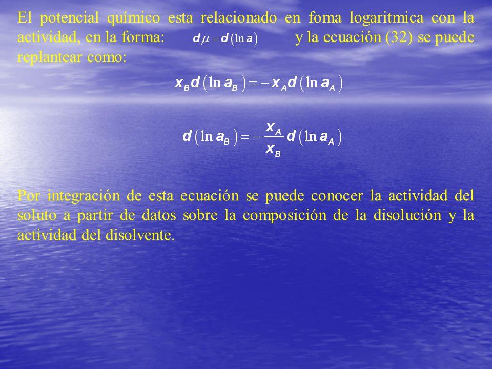 El potencial químico esta relacionado en foma logaritmica con la actividad, en la forma: y la ecuación (32) se puede replantear como: Por integración