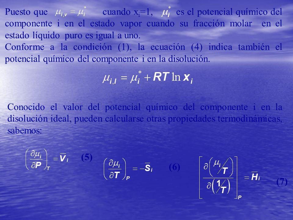 Puesto que cuando x i =1, es el potencial químico del componente i en el estado vapor cuando su fracción molar en el estado líquido puro es igual a un