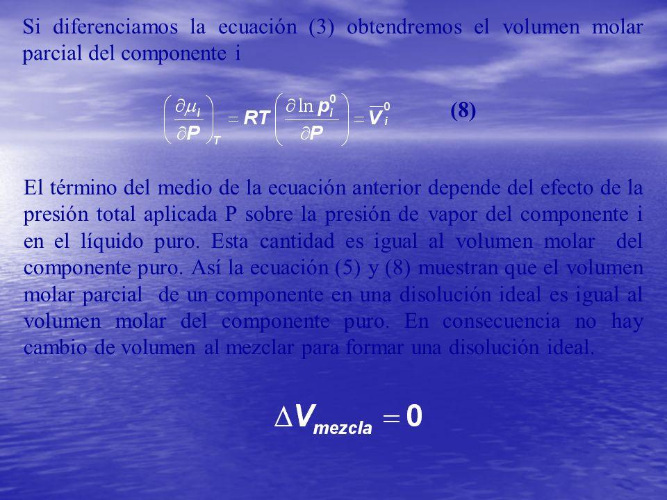 Si diferenciamos la ecuación (3) obtendremos el volumen molar parcial del componente i El término del medio de la ecuación anterior depende del efecto