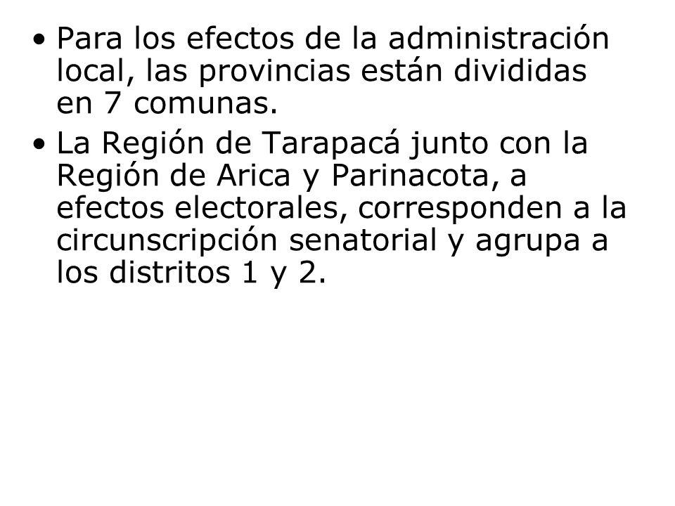 Para los efectos de la administración local, las provincias están divididas en 7 comunas. La Región de Tarapacá junto con la Región de Arica y Parinac