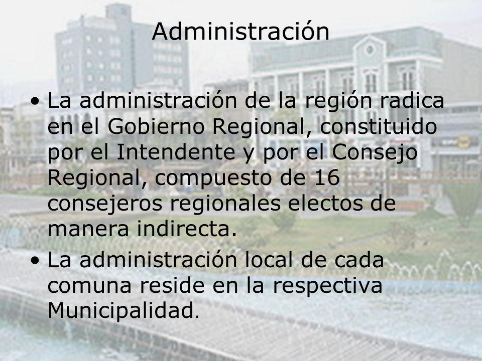Administración La administración de la región radica en el Gobierno Regional, constituido por el Intendente y por el Consejo Regional, compuesto de 16