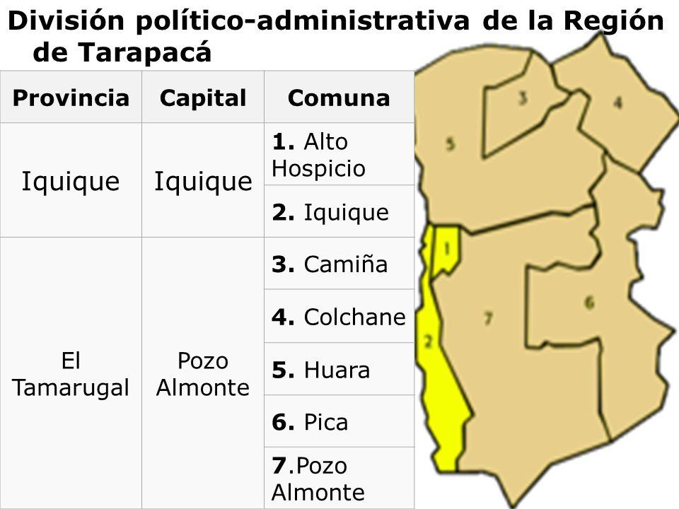División político-administrativa de la Región de Tarapacá ProvinciaCapitalComuna Iquique 1. Alto Hospicio 2. Iquique El Tamarugal Pozo Almonte 3. Cami