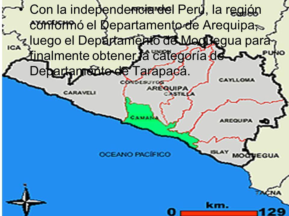 Con la independencia del Perú, la región conformó el Departamento de Arequipa, luego el Departamento de Moquegua para finalmente obtener la categoría