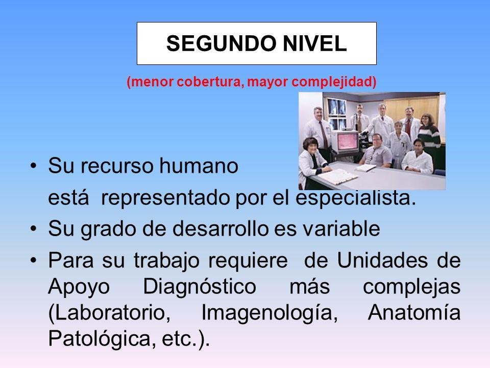 Su recurso humano está representado por el especialista. Su grado de desarrollo es variable Para su trabajo requiere de Unidades de Apoyo Diagnóstico