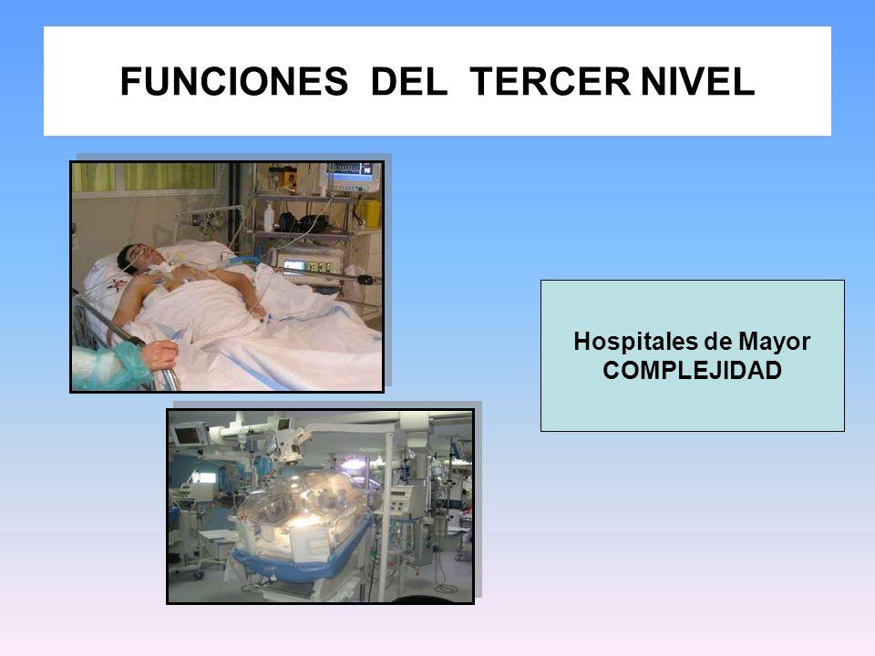 FUNCIONES DEL TERCER NIVEL Hospitales de Mayor COMPLEJIDAD