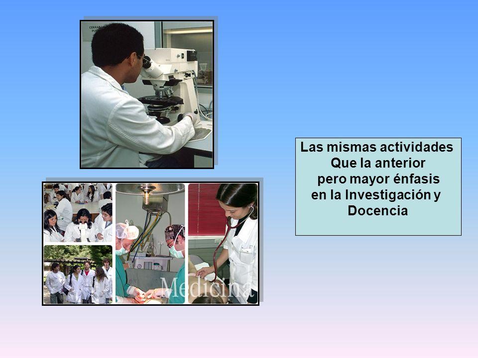 Las mismas actividades Que la anterior pero mayor énfasis en la Investigación y Docencia