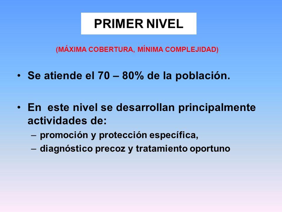 PRIMER NIVEL Se atiende el 70 – 80% de la población. En este nivel se desarrollan principalmente actividades de: –promoción y protección específica, –
