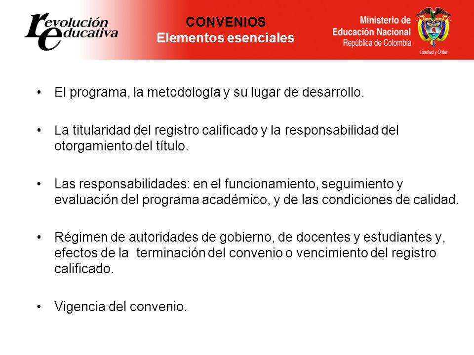 CONVENIOS Elementos esenciales El programa, la metodología y su lugar de desarrollo. La titularidad del registro calificado y la responsabilidad del o