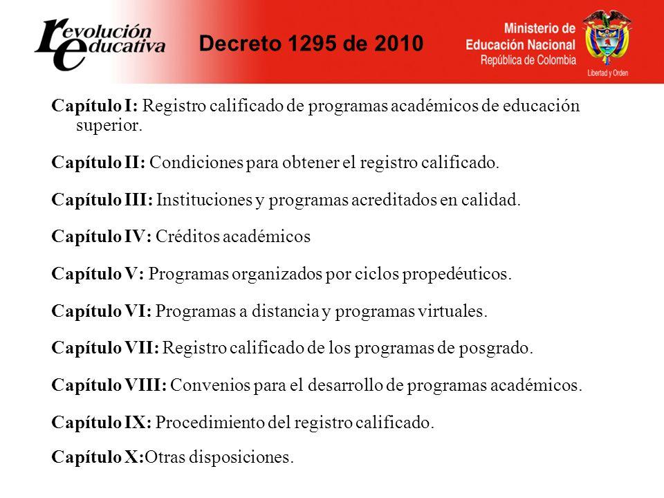 CAPÍTULO I Vigencia: Decreto 2566/03 7 años pregrado Decreto 1001/06 5 años especialización 7 Maestría y doctorado Decreto 1665/01 5 años especializaciones MQ No constituye título el que otorgue una IES respecto de un programa que carezca de registro calificado.