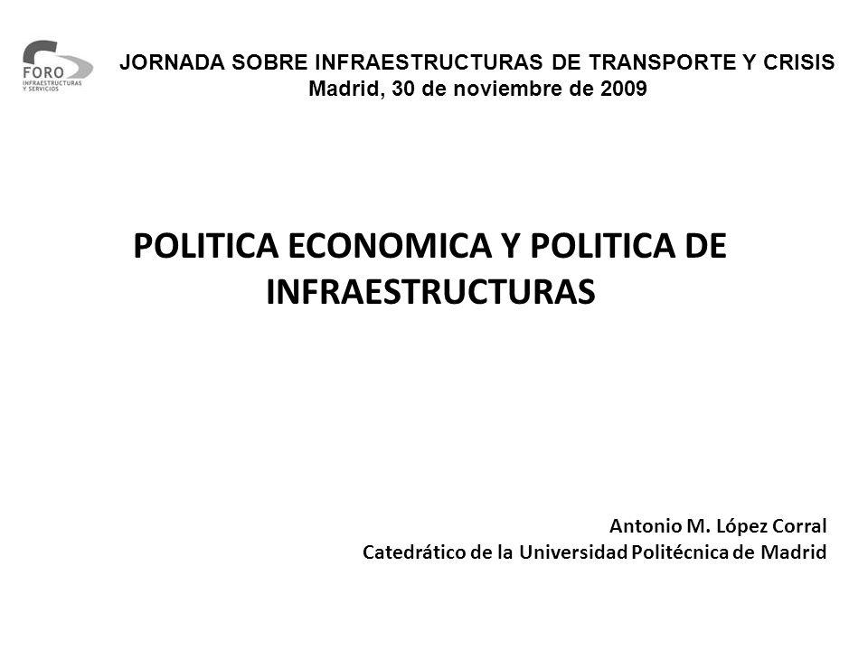 JORNADA SOBRE INFRAESTRUCTURAS DE TRANSPORTE Y CRISIS Madrid, 30 de noviembre de 2009 POLITICA ECONOMICA Y POLITICA DE INFRAESTRUCTURAS Antonio M.