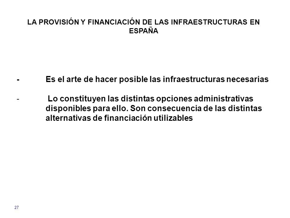 LA PROVISIÓN Y FINANCIACIÓN DE LAS INFRAESTRUCTURAS EN ESPAÑA 27 -Es el arte de hacer posible las infraestructuras necesarias - Lo constituyen las distintas opciones administrativas disponibles para ello.