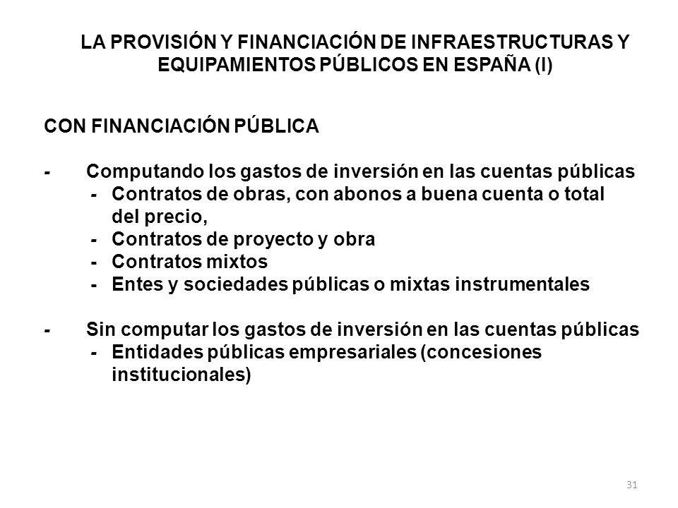 LA PROVISIÓN Y FINANCIACIÓN DE INFRAESTRUCTURAS Y EQUIPAMIENTOS PÚBLICOS EN ESPAÑA (I) CON FINANCIACIÓN PÚBLICA - Computando los gastos de inversión en las cuentas públicas -Contratos de obras, con abonos a buena cuenta o total del precio, -Contratos de proyecto y obra -Contratos mixtos -Entes y sociedades públicas o mixtas instrumentales - Sin computar los gastos de inversión en las cuentas públicas -Entidades públicas empresariales (concesiones institucionales) 31
