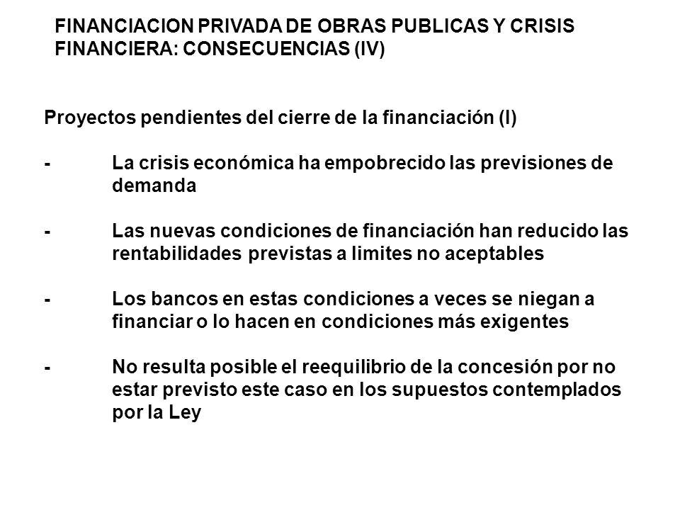 FINANCIACION PRIVADA DE OBRAS PUBLICAS Y CRISIS FINANCIERA: CONSECUENCIAS (IV) Proyectos pendientes del cierre de la financiación (I) -La crisis económica ha empobrecido las previsiones de demanda -Las nuevas condiciones de financiación han reducido las rentabilidades previstas a limites no aceptables -Los bancos en estas condiciones a veces se niegan a financiar o lo hacen en condiciones más exigentes -No resulta posible el reequilibrio de la concesión por no estar previsto este caso en los supuestos contemplados por la Ley