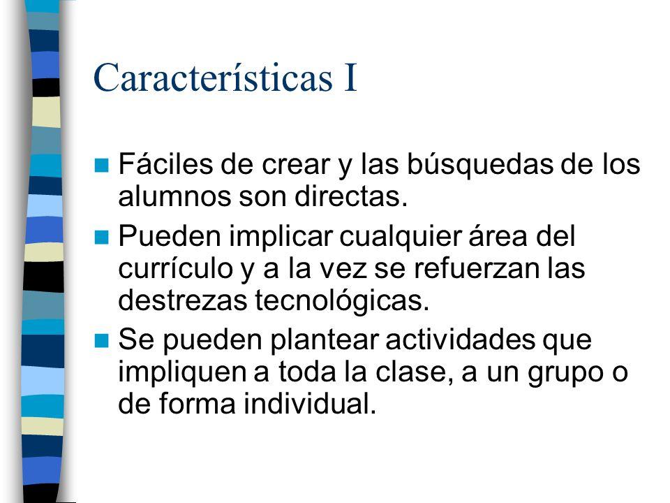 Características I Fáciles de crear y las búsquedas de los alumnos son directas.