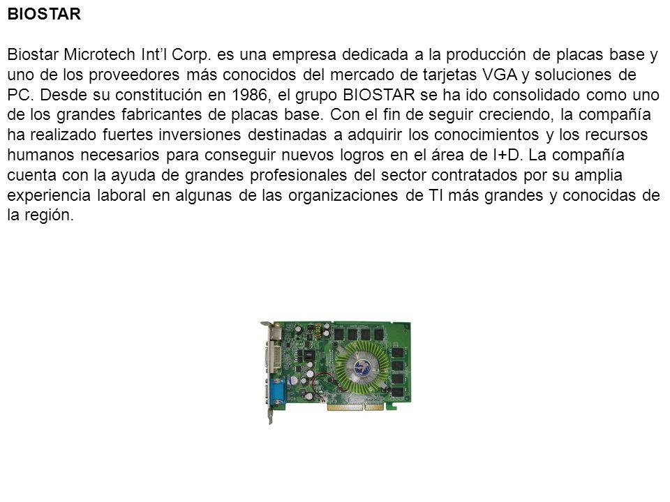 BIOSTAR Biostar Microtech Intl Corp. es una empresa dedicada a la producción de placas base y uno de los proveedores más conocidos del mercado de tarj