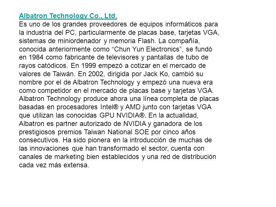 Albatron Technology Co., Ltd. Es uno de los grandes proveedores de equipos informáticos para la industria del PC, particularmente de placas base, tarj