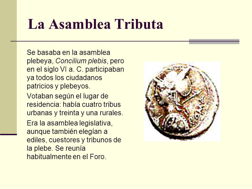 La Asamblea Tributa Se basaba en la asamblea plebeya, Concilium plebis, pero en el siglo VI a. C. participaban ya todos los ciudadanos patricios y ple