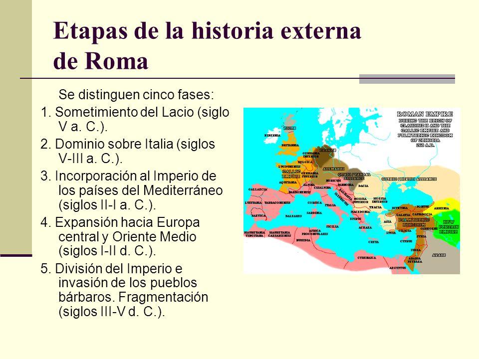 Etapas de la historia externa de Roma Se distinguen cinco fases: 1. Sometimiento del Lacio (siglo V a. C.). 2. Dominio sobre Italia (siglos V-III a. C