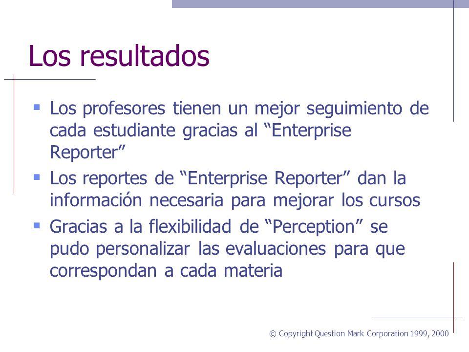 © Copyright Question Mark Corporation 1999, 2000 La aplicación (continuación) Los estudiantes se acercan cada vez más de la graduación a medida que aprueban los exámenes El programa es utilizado por 7000 estudiantes por mes Y hay 42 cursos en línea (en inglés y español) de diferentes materias