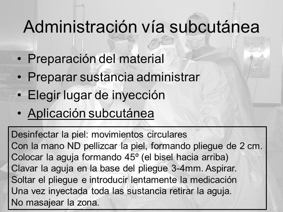 Administración vía subcutánea Preparación del material Preparar sustancia administrar Elegir lugar de inyección Aplicación subcutánea Desinfectar la p