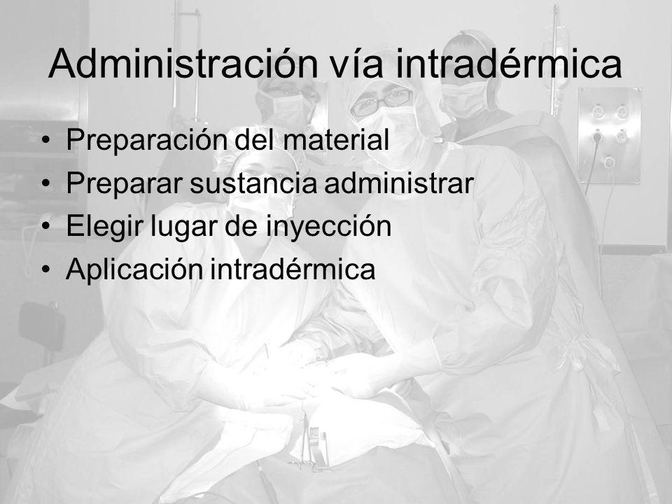 Administración vía intradérmica Preparación del material Preparar sustancia administrar Elegir lugar de inyección Aplicación intradérmica