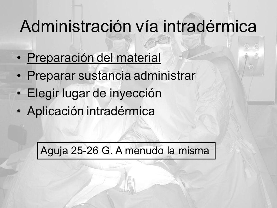 Administración vía intradérmica Preparación del material Preparar sustancia administrar Elegir lugar de inyección Aplicación intradérmica Aguja 25-26