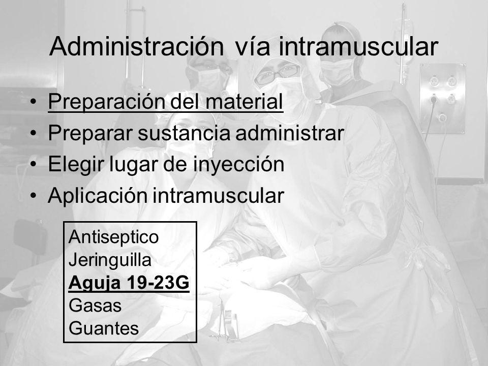 Administración vía intramuscular Preparación del material Preparar sustancia administrar Elegir lugar de inyección Aplicación intramuscular Antiseptic
