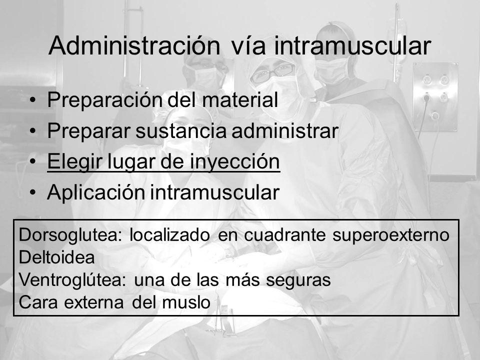 Administración vía intramuscular Preparación del material Preparar sustancia administrar Elegir lugar de inyección Aplicación intramuscular Dorsoglute