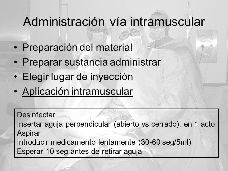 Administración vía intramuscular Preparación del material Preparar sustancia administrar Elegir lugar de inyección Aplicación intramuscular Desinfecta