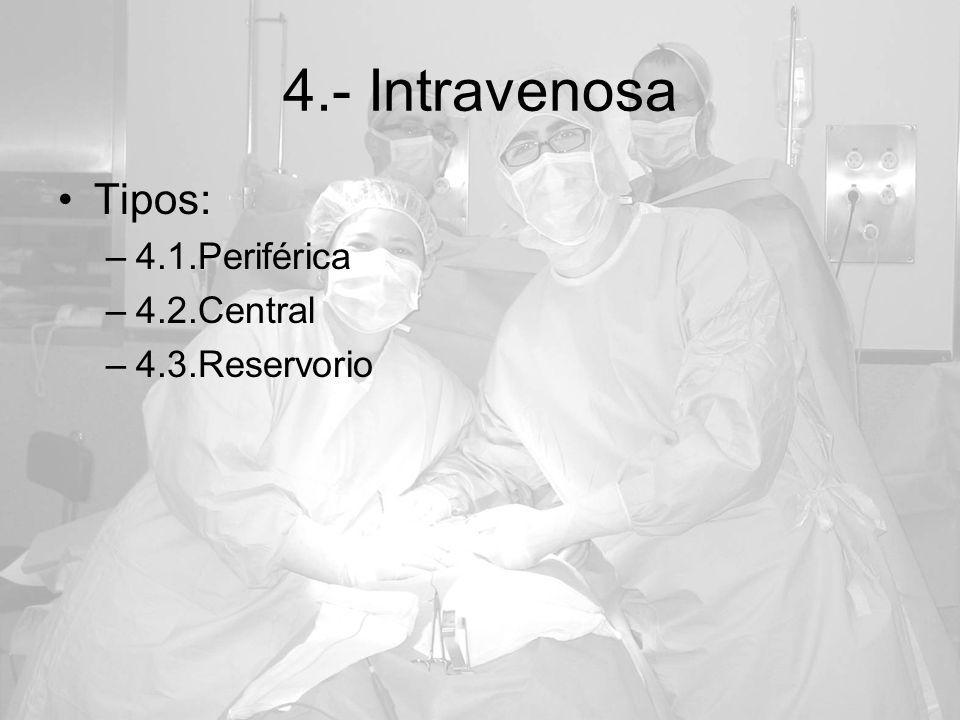 4.- Intravenosa Tipos: –4.1.Periférica –4.2.Central –4.3.Reservorio