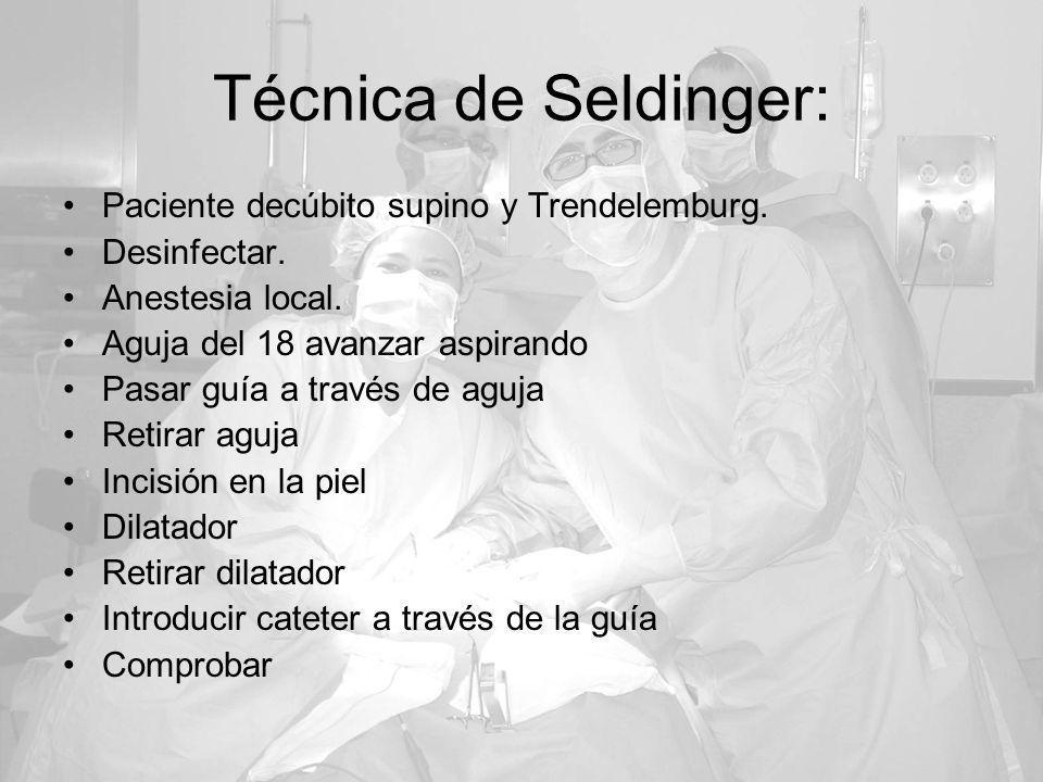 Técnica de Seldinger: Paciente decúbito supino y Trendelemburg. Desinfectar. Anestesia local. Aguja del 18 avanzar aspirando Pasar guía a través de ag