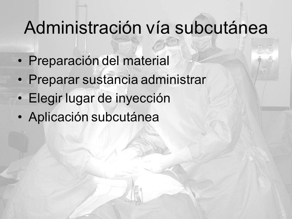 Administración vía subcutánea Preparación del material Preparar sustancia administrar Elegir lugar de inyección Aplicación subcutánea
