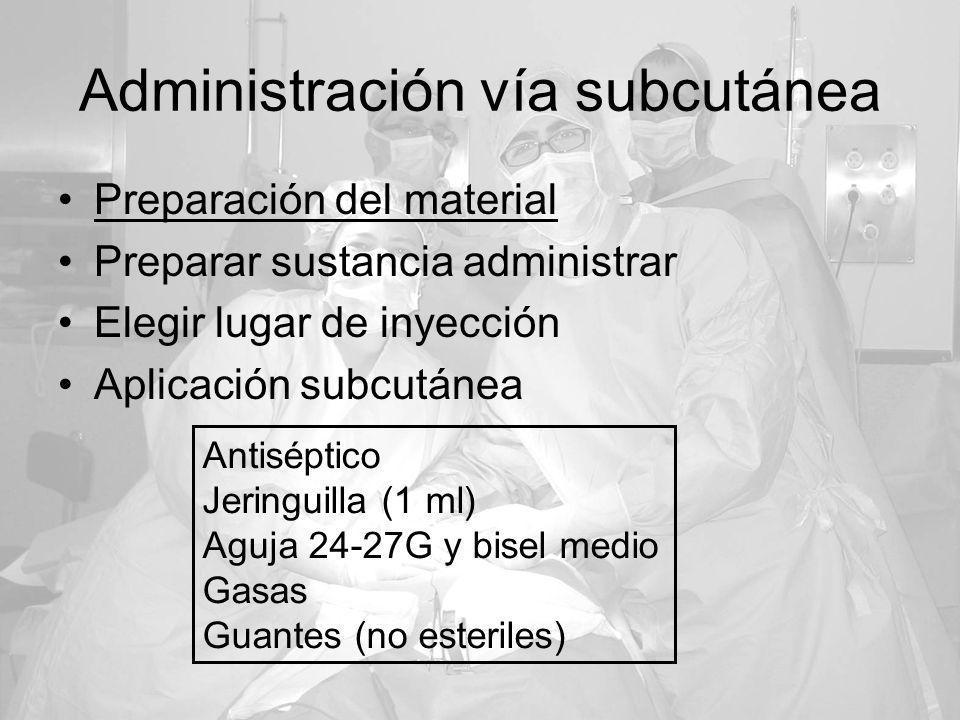 Administración vía subcutánea Preparación del material Preparar sustancia administrar Elegir lugar de inyección Aplicación subcutánea Antiséptico Jeri