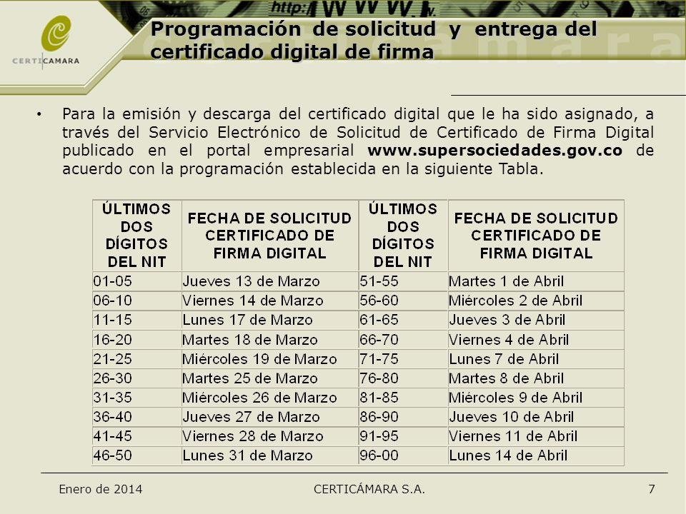 Enero de 2014CERTICÁMARA S.A.7 Programación de solicitud y entrega del certificado digital de firma Para la emisión y descarga del certificado digital