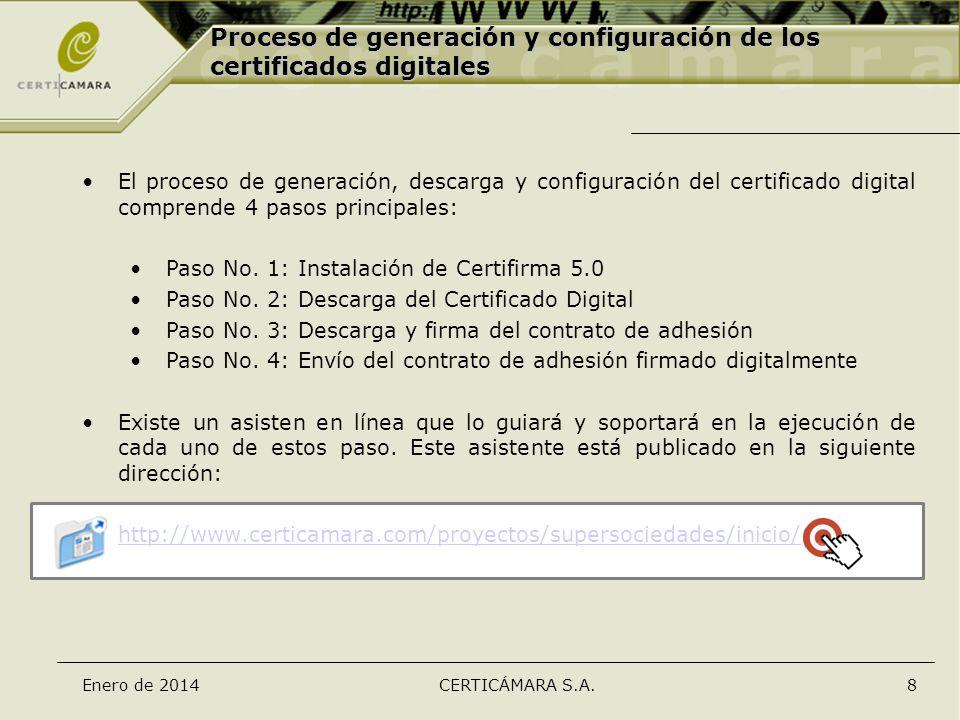 Enero de 2014CERTICÁMARA S.A.8 Proceso de generación y configuración de los certificados digitales El proceso de generación, descarga y configuración