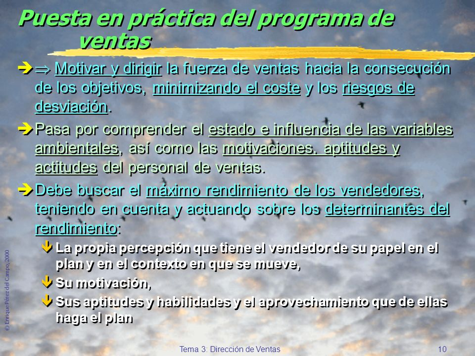 © Enrique Pérez del Campo, 2000 9 Tema 3: Dirección de Ventas Ambiente Estrategia de Marketing Actividades de la Dirección de Ventas Determinantes del